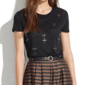 Madewell Jewelstud Beaded Tee Shirt Linen Black XS
